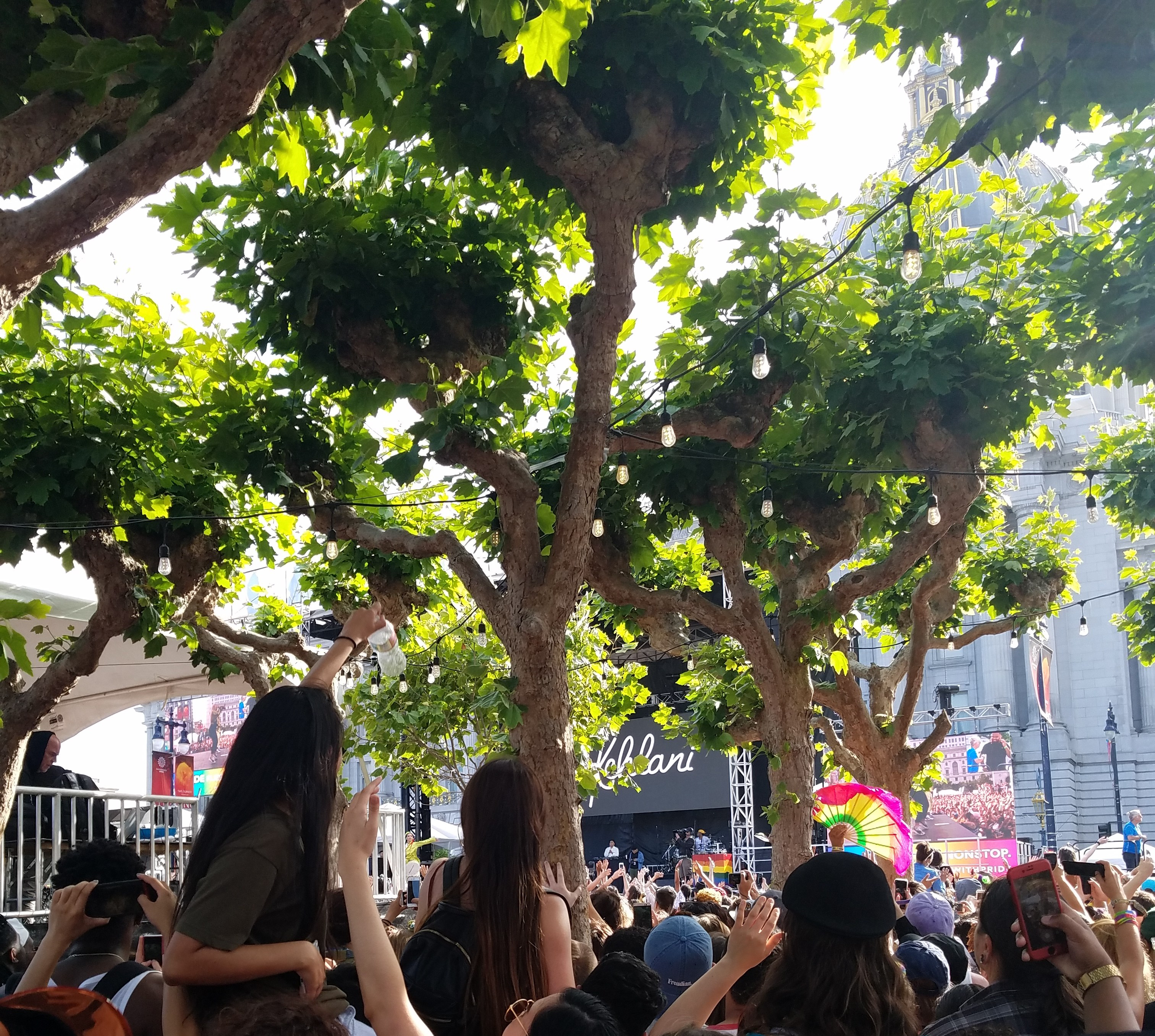 Picture from crowd at 2018 San Francisco Gay Pride facing the stage.