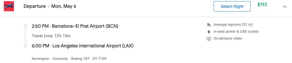Flight: Barcelona El Prat to LAX May 6th $192
