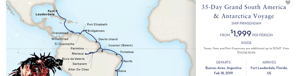 35 Day South American Repositioning Cruise from Buenos Aires to Fort Lauderdale for only $2000. Thats about $50USD per person!